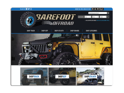 New Ecommerce Website For Premium Selection Of Off Road Truck And Jeep Parts Barefoot Offroad